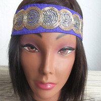 Bohemian Sequin headband elastic back, Purple and gold boho head band for women, hippie headband OOAK sequin trim headband