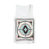 Front Aztec Geometric Print Tank Top for Girls