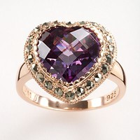 Lavish by TJM 14k Rose Gold Over Silver Purple Cubic Zirconia Heart Ring - Made with Swarovski Marcasite (Grey)