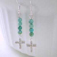 Turquoise Small Cross Earrings