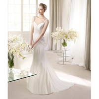 Noble Sweep Mermaid Sweetheart Neckline Led By Handing Chiffon Wedding Dress