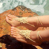 Latte Barefoot Sandals, Grecian Design Crochet Sandals,Legwear, Sexy Foot Jewelry, Toe Ring, Yoga, Foot Thongs, Nude Shoes, Lace Sandles