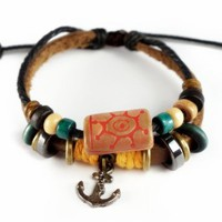 Unisex Handmade Leather Bracelet-Sun Anchor