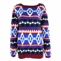 Tribal Aztec Geometric Pullover Jumper with Contrast