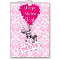 Funny pink elephant mothers day