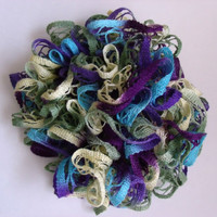 Ruffle scarf Purple blue green and yellow color