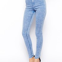 ASOS Rivington High Waist Denim Jeggings in Pretty Acid Wash