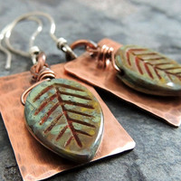 Spring Green Leaf Earrings, Hammered Copper, Summer Earrings, Nature Inspired, Woodland, Tree Leaves