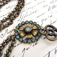 Long Brass Key Necklace, Vintage Style Assemblage Necklace, Brass Aqua Beaded Flower Focal, Antique Brass