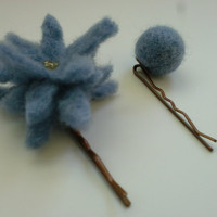 flower bobby pin, flower and bead hair pieces, felted hair clips