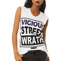 The Vicious Street Wrath Blue Tee in White