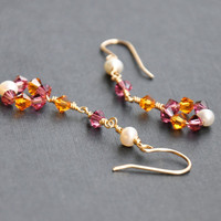 Pink Crystal Earrings 14K Gold Fill by GueGueCreations
