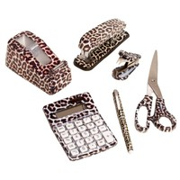6 Set: Leopard Animal Safari Print Office Kit Stapler Staple Remover Scissors Tape Dispenser Calculator & Pen
