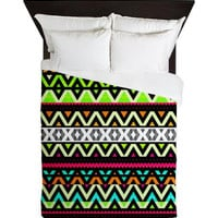 Tribal Queen Duvet Cover - Neon Mix - Ornaart Design