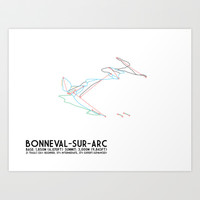 Bonneval Sur Arc, Savoie, FRA - North American Edition - Minimalist Trail Art Art Print by CircleSquareDiamond