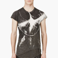 GREY BIAS CUT GRAPHIC T-SHIRT