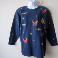 80s Nautical Navy Beaded Sweater -- Preppy Yacht Club Resort Wear Fashion -- NEW w/ Tags! NOS!