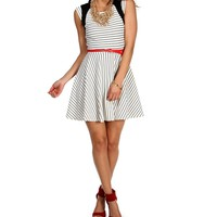 SALE-Striped Textured Belted Dress