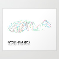 Boyne Highlands, MI - Minimalist Trail Art Art Print by CircleSquareDiamond