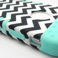 New 3-piece Black and White Chevron Stripes Impact Hybrid Combo Hard Case Cover Mint Blue Soft Skin for Iphone 5 5s