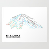 Mt. Bachelor, OR - Minimalist Trail Art Art Print by CircleSquareDiamond
