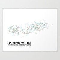Les Trois Vallees, Savoie, France - North America Colors - Minimalist Trail Art Art Print by CircleSquareDiamond