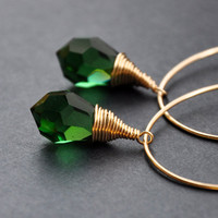 14K Gold Filled Hoop Earrings Woodland Green GueGueCreations