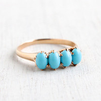 Antique Victorian 10k Rose Gold Blue Turquoise Ring - Size 6 3/4 Late 1800s Fine Jewelry Stacking Engagement
