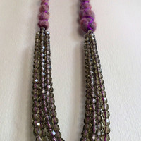 Grey Multistrand Necklace Czech Glass Purple Marroon Felt Braided with Purple Silk