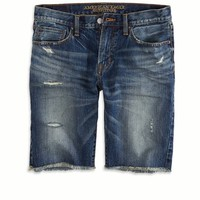 "AEO Men's 10.25"" Destroyed Denim Cutoff Short (Dark Indigo)"