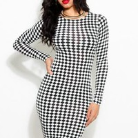 Black & White Diaomond Print Bodycon Dress