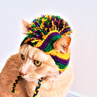 Mardi Gras Dog Costume - Hand Knit Dog Hat - Custom Sizing