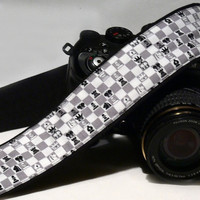 Chess Camera Strap. DSLR Camera Strap. White Gray and Black Camera Strap. Camera accessories