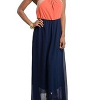 Colorblock me Haltered Navy/Coral Maxi Dress