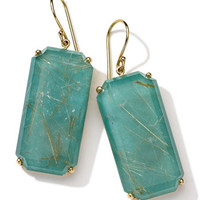 Ippolita 18k Gold Rock Candy Gelato Large Emerald-Cut Earrings, Rutilated Quartz/Turquoise