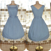 Vintage 50s Chambray Blue Day Dress Pleated Full Sweep L/XL Rockabilly VLV