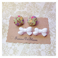 "Handmade ""Anna"" and White Bow Earring Set"