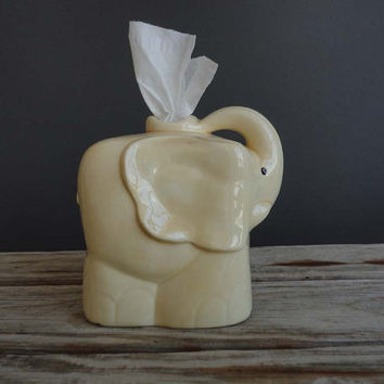 $39.00 Vintage Yellow Elephant Tissue Holder by GallivantingGirls on Etsy
