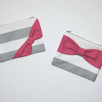 Cosmetic Case / Zipper Pouch / Makeup Bag - Gray Stripes with Hot Pink Bow - Choice of Bow Style