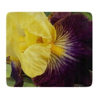 Purple and Yellow Iris Glass Cutting Board