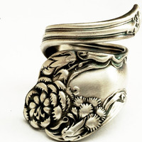 Spoon Ring Vintage Carnation Art Nouveau Sterling by Spoonier