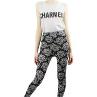Black Patterned Flower High Waist Leggings
