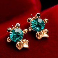 Blue Crystal Goldfish Fashion Earrings