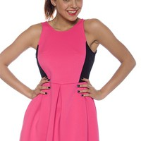Block Out Sleeveless Mesh Panel Dress - Pink