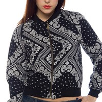 Paisley Passion Zipper Front Jacket - Black