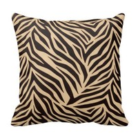 Brown Zebra Print Pillow