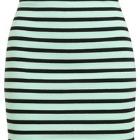 T BY ALEXANDER WANG Striped Stretch-Cotton Mini-Skirt