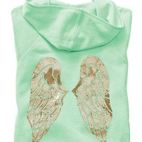 Victoria's Secret Supermodel Angel Bling Wings Hoodie L Aqua