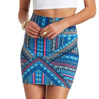 BODYCON TRIBAL PRINT MINI SKIRT
