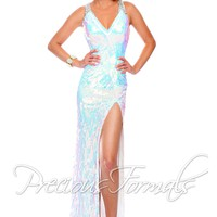 Precious Formals P9008 V-Neck Evening Gown